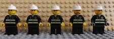 5 LEGO Mini Figurines Pompier Chef Caserne De Pompiers Officier City Set