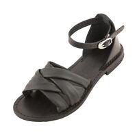 Sandali da donna in CUOIO e PELLE neri con cinturino alla caviglia Made In Italy