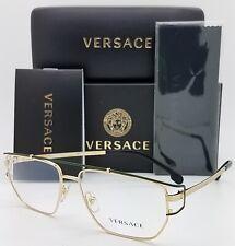 NEW Versace RX Frame Glasses VE1257 1458 55mm Polished Gold Matte Green GENUINE