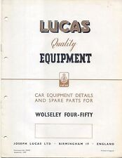 Wolseley Four-Fifty 4/50 1949 Lucas illustrated Equipment & Spare Parts List