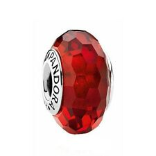 Pandora Murano Glass Charm Red Faceted Bead Silver S925 ALE 791066 New,