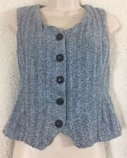 St. John Collection Marie Gray Vest/Top Size 6 Knit Button Up Sleeveless Blue