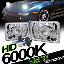 7X6 Chrome Glass Projector Headlights H4 H6052 H6054 W/6K Hid Xenon H4 Bulbs Vg7