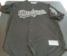 LOS ANGELES DODGERS Cool Base MAJESTIC Black Gray L Jersey NEW NO TAGS Baseball