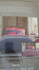 Anthology Happy Indigo Reversible Twin Comferter 2 Piece Bed Set
