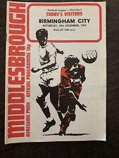 1974 Middlesbrough  V Birmingham City  Football Programme