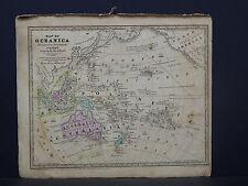 Oceania, Australia, Polynesia Antique Map 1839 Smith's Geography R9#68