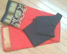 Gorgeous Red/Black Cotton Blend Saree Fall, Pico done Stitched Blouse Size 36