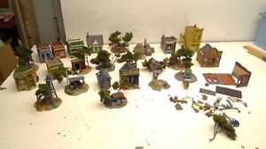 Vintage Lot of 25 Ho Scale Metal Buildings/ Diorama's-Built-DETAILED (H100)