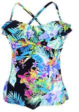 fbc4177aef394 Island Escape Size 14 Black Tahiti Floral Bandini Tankini Swimsuit Top  143593