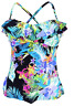 Island Escape Womens Montage Gardens ruffled Tankini Top W760147 Multi 6,10,14