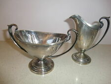 Vintage Evans Art Deco silverplate sugar bowl & creamer pitcher set, signed,