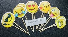 12 Emoji Cake Picks / Cupcake Toppers Birthday Cake Decorations Flags