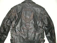 UNIK Men's LIVE TO RIDE Leather Motorcycle Biker Jacket, Sz 44-New