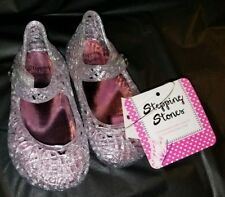 STEPPING STONES CLEAR SILVE GLITTER Jelly Sandal Shoes Infant Girl's Size 2 Baby