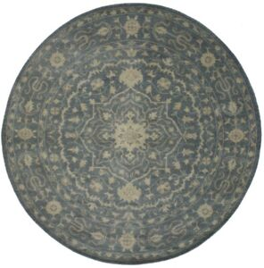 Hand-Knotted Classic Floral 8X8 Antique Washed-Out Oriental Round Rug Carpet