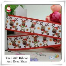 "✂  2 mtr grosgrain 7/8""(22mm) CHRISTMAS RUDOLF RED NOSE ( WHITE ) Printed Ribbon"