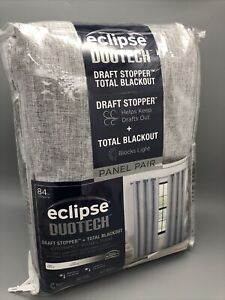 """Eclipse DuoTech Draft Stopper Total Blackout Curtains 84"""" Panel Pair Light Grey"""