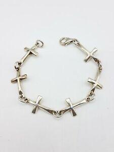 925 Silver Robert Lee Morris RLM Studios Cross Link Bracelet FC714