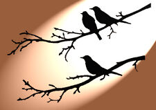 Shabby Chic plastic Stencil two/one bird sat in trees Vintage style A4 297x210mm