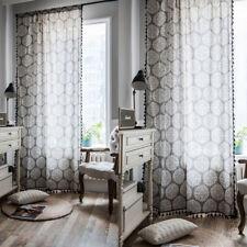 Gray Curtains For Living Room Cotton Linen Boho Tassel Vintage Window Drapes 1pc