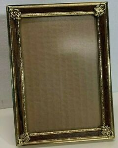 """Vintage Ornate Very Old Metal Gold Tone & Brown Picture Frame 5""""x7"""" Photo Frame"""
