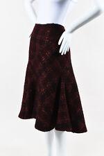Donna Karan Collection Burgundy Black Cashmere & Wool Plaid Flounce Skirt SZ 12