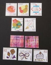 JAPAN USED 2015 HAPPY GREETINGS 82 yen 10 VALUE VF COMPLETE SET SC# 3924 a - j