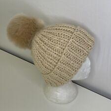 KYI KYI CANADA Chunky Rib Knit Cuffed Slouchy Faux Fur Big Pompom Beanie Tan