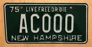 """1975 NEW HAMPSHIRE LIVE FREE OR DRIVE SAMPLE AUTO LICENSE PLATE """" AC 000 """" NH 75"""