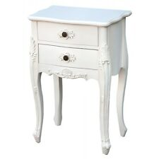 French Rococo Style Furniture Antique White 2 Drawer Bedside Side Table Cabinet