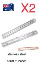 "2pcs 6"" 15cm Stainless Steel Metric Metal Ruler Rule precision Double Sided.."