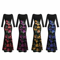Angel-fashions Long Sleeve Rose Pattern Sequin Formal Black Party Dress 396