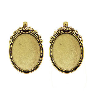 4 PCS Vintage Gold Oval Cameo Base Cabochon Setting Pendant Jewelry 40*30mm Tray