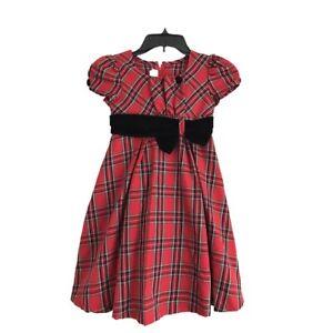 bonnie jean Girls Christmas dress short sleeves red & black plaid  Size 6