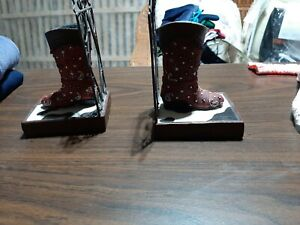 Western Boots Bookends Home Decor Cow Print Rustic Stars Country NICE