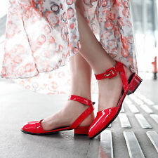 Women's Patent Leather Low Heel Pointy Toe Shiny Slingback Pumps Sandals Shoes