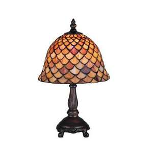 Meyda Lighting 13.5'H Tiffany Fishscale Mini Lamp, Paba - 67378