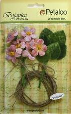 Mauve Velvet Fabric 12mini Blossoms 25mm & 12 Leaves 25x30mm Burlap Tie Petaloo