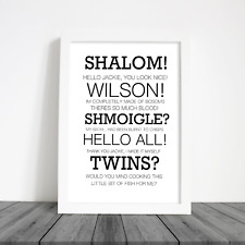Friday Night Dinner Home Print Shalom Jim Funny Quotes Wall Art Decor Tv Comedy