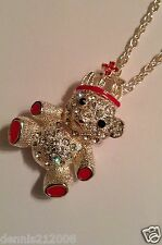 Stunning huge crystal bear with crown necklace pendant silver/red animals B266