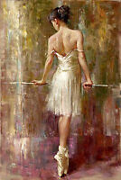 Oil painting female portrait young ballet girl Purity Ballerina Hand painted art