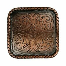 "Western Equestrian Cowboy Tack Decor Black Copper  1"" Square Concho's Set of 6"