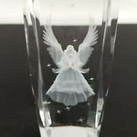 Vintage 6 inch Paper Weight Heavy Glass Angel Wings 3d Etched inside