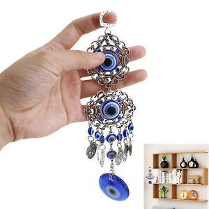 Turkish Blue Evil Eye Hamsa Hand Elephant Amulet Wall Protection Blessing Hanger