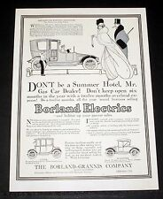1913 OLD MAGAZINE PRINT AD, BORLAND ELECTRIC LIMOUSINE, BOLSTER GAS CAR SALES!