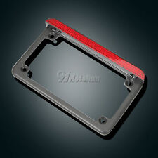 Universal Motorcycle Black Aluminum License Plate Frame With LED Brake Light