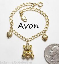 Signed AVON Child's Charm Bracelet, Teddy Bear Topaz Birthstone & 2 Hearts, 6.5""