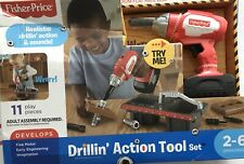 OPEN BOX Fisher Price Drillin Action Tool Set Kids Toy