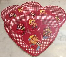 SET OF 4 NEW POTTERY BARN KIDS VALENTINE HEART VINYL GINGHAM RED PLACEMATS